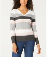 Karen Scott Women's 100% Cotton 'Jackie' Striped Cable-Knit Sweater NWT ... - $9.41