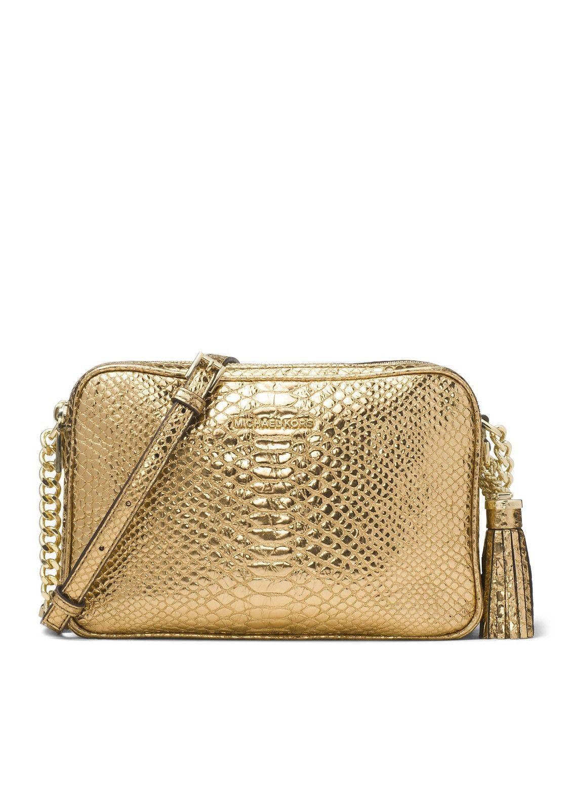 255387c7dbd6 57. 57. Previous. NEW MICHAEL KORS GINNY LARGE EMBOSSED LEATHER GOLD CAMERA  BAG CROSSBODY PURSE. NEW MICHAEL ...
