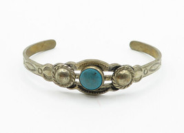 SOUTHWESTERN 925 Silver - Vintage Petite Turquoise Etched Cuff Bracelet ... - $28.38