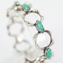 Mid-Century Modernist Silver and Pearlised Glass Statement Bracelet - $80.00