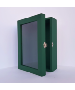 5x8 Green Deep Wooden Shadow Box Frame with Glass Door, Memory Box, Phot... - $49.00