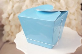 12 Blue Chinese Asian Small Take Out Boxes Easy Close Top Favors Cupcake... - £7.77 GBP