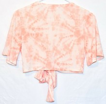 Missguided Women's Peach Pink Tie-Dye Front Tie Crop Top T-Shirt Size 4 image 2