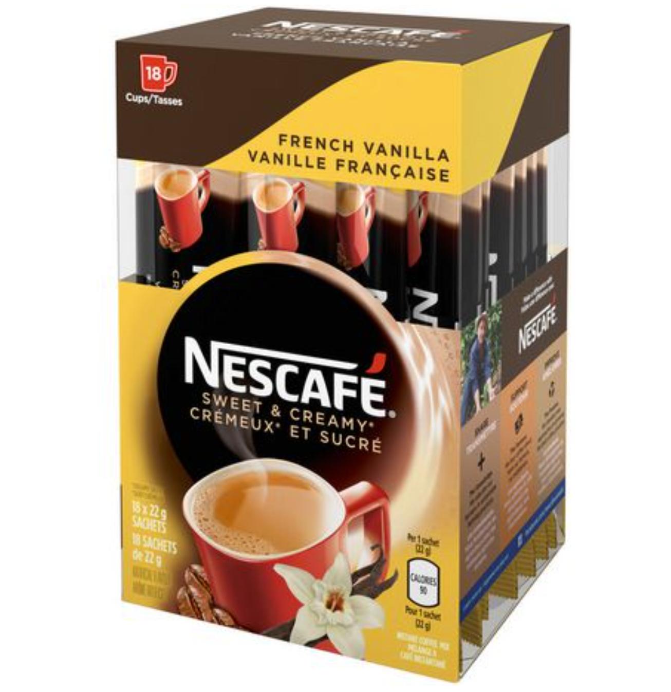 NESCAFÉ Sweet & Creamy French Vanilla, Instant Coffee Sachets (18 x 19 g) - $19.97