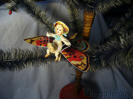 Vintage Inspired Spun Cotton Christmas Butterfly Ornament no.E27 image 1