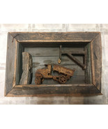 VINTAGE PRIMITIVE FOLK ART CAST IRON TRACTOR FARM SCENE WINDOW BOX SHADO... - $19.95