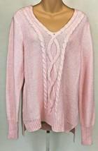 Chaps Women's Cable Knit V Neck Cotton Blend Sweater Ralph Lauren Size XL - $22.76