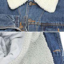 Men's Classic Button Up Sherpa Fleece Lined Cotton Denim Trucker Jean Jacket image 4