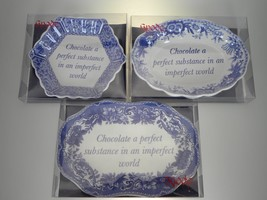 Spode Blue Room Set of 3 Sentiment Trays (Chocolate a Perfect Substance) NEW - $15.79