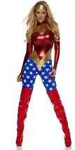 Forplay Metallic Sexy Wonder Woman Super Hero Costume with Star-Spangled Legs image 3