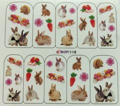 BANG STORE Nail Art Water Decals Bunnys Rabbits Easter Spring Flowers Carrots  - $2.11