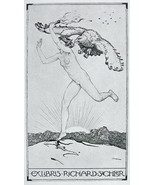 NUDE EX LIBRIS Woman Runs with Torch Chased by Eagle - 1922 Lichtdruck P... - $12.60