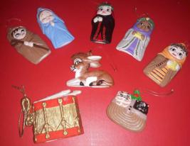 Lot 8 VTG1980's Ornament Nativity Mary Joseph Drum Wise Men Donkey Kitte... - $8.70