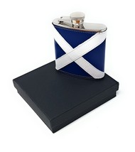 REAL LEATHER STEEL HIP FLASK SCOTLAND ST ANDREW FLAG CHRISTMAS PRESENT D... - $45.80