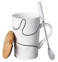 Creative Simple High-capacity Ceramic Cup, Spring Waltz And Bamboo Cover - $21.26