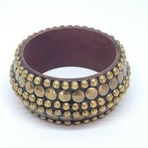 Vintage Boho Brass Stud & Wood Bangle Chunky Statement Bracelet - $9.97