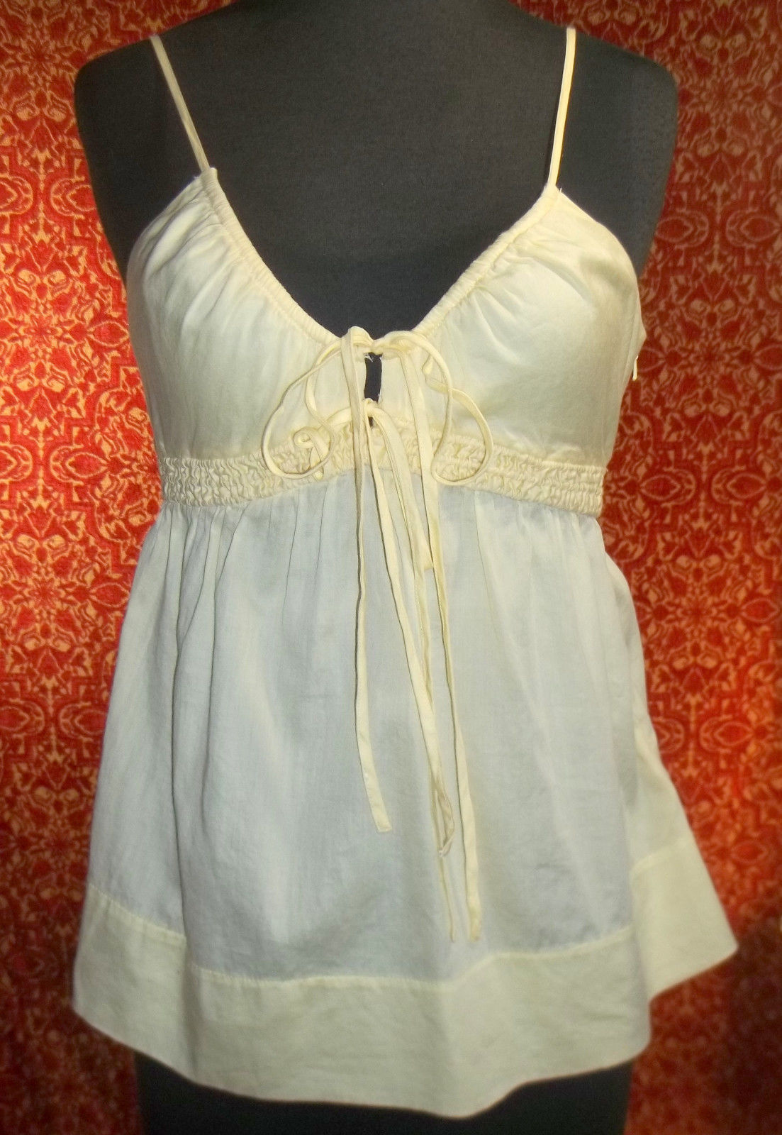 FRENCH CONNECTION pale soft yellow cotton spaghetti blouse 4 (T0503D8G)