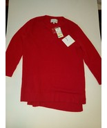 BELLE FRANCE Red 100% Cashmere womans V-Neck Sweater Size M - $59.99