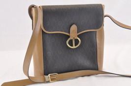 Christian Dior Trotter Shoulder Bag PVC Leather Black Brown Auth ar629 - $110.00