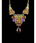 Statement Necklace - big rhinestone bib choker -  teardrop  bohemian cos... - $85.00