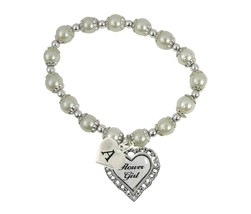 An item in the Jewelry & Watches category: Custom White Pearl Flower Girl  Heart Stretch Bracelet Jewelry Choose Initial
