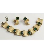 ESTATE VINTAGE Jewelry TRIFARI 60's GREEN CABOCHON BRACELET & EARRINGS SET - $325.00