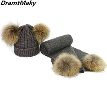 Children Real Fur Pompom Winter Hat and Scarf Set for Child and Adult Wo... - $45.40