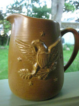 CHATHAM POTTERS STONEWARE AMERICANA EAGLE STAR EMBOSSED PITCHER LARGE CR... - $9.49
