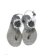 Coach Hilda Glitter Jelly Clear/Silver Buckle Strap Thong Sandal Size 8M... - $65.53