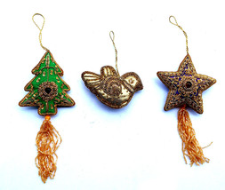 3 Christmas Febric Stars Ornament Tree Hanging Party Home Decor Bird New... - $18.66