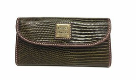 Dooney & Bourke NEW Wallet Olive Brown Lizard-Embossed Leather Tri-Fold X - $59.03