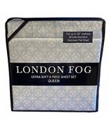 LONDON FOG Aqua Medallion Pattern Queen Sheet Set, 6 pcs, Microfiber - $69.25