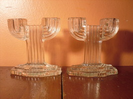 Art Deco Glass Candlesticks - Anchor Hocking Queen Mary 1930s Depression... - $5.66