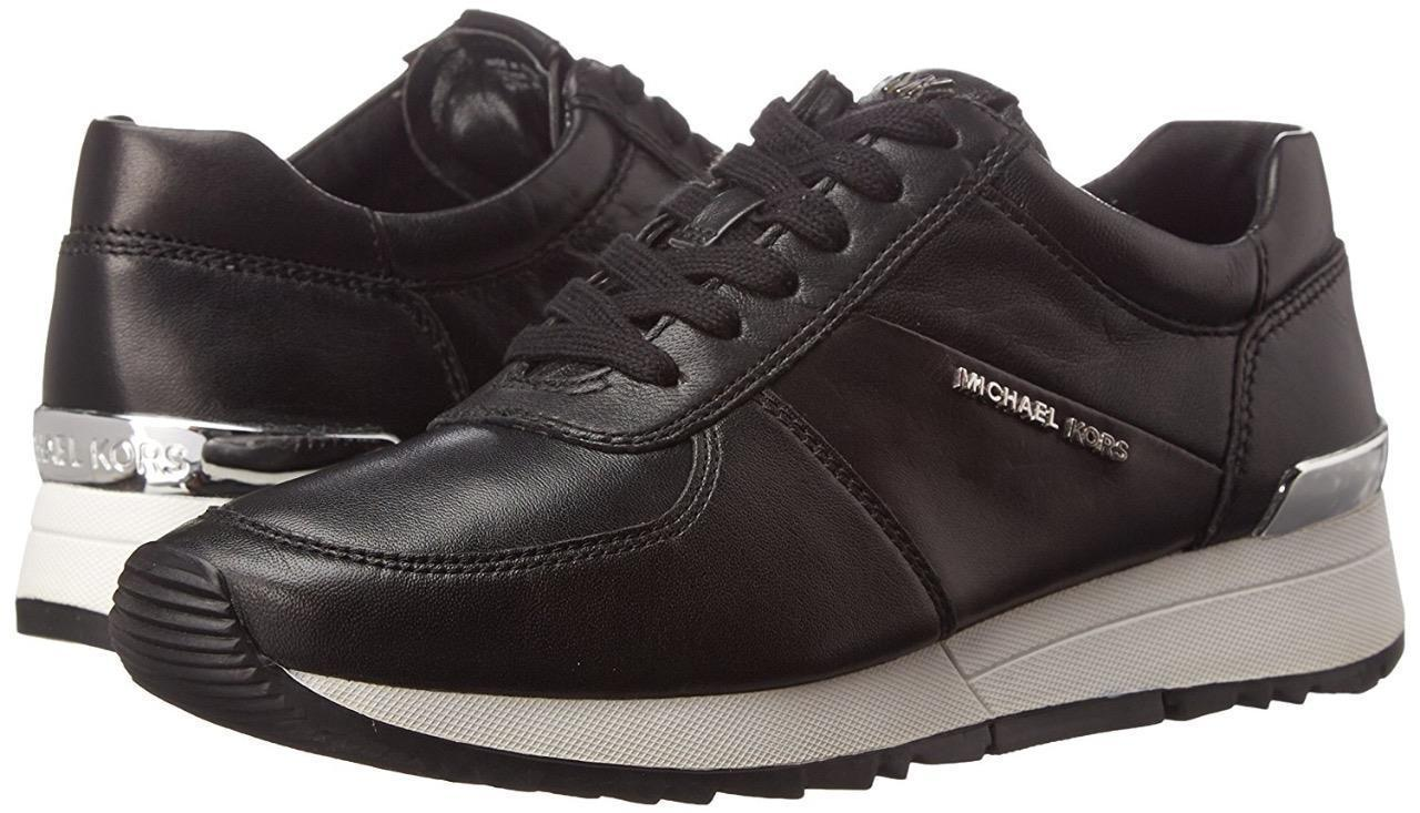 Michael Kors MK Women's Allie Trainer Leather Sneakers Shoes Black