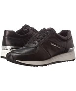 Michael Kors MK Women's Allie Trainer Leather Sneakers Shoes Black - $125.95
