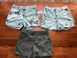 3 girl's GAP Shorts size 12  100% cotton  butterflies, khaki green - $13.99