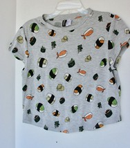 H&M Divided Crop Size Small Unique SUSHI Shirt Gray GUC - $9.89