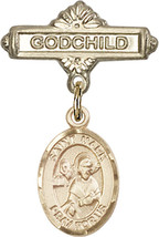 14K Gold Baby Badge with St. Mark the Evangelist Charm Pin 1 X 5/8 inch - $425.00
