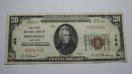$20 1929 Hillsdale Michigan MI National Currency Bank Note Bill Ch. #168... - $280.49