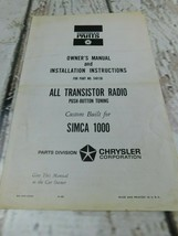 Chrysler Simica 1000 Transister Radio Owners Manual Installation Instruc... - $27.71