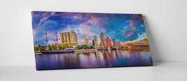 """Tampa Bay Panoramic Skyline Gallery Wrapped Canvas Print. 45""""x16"""" - $135.52"""