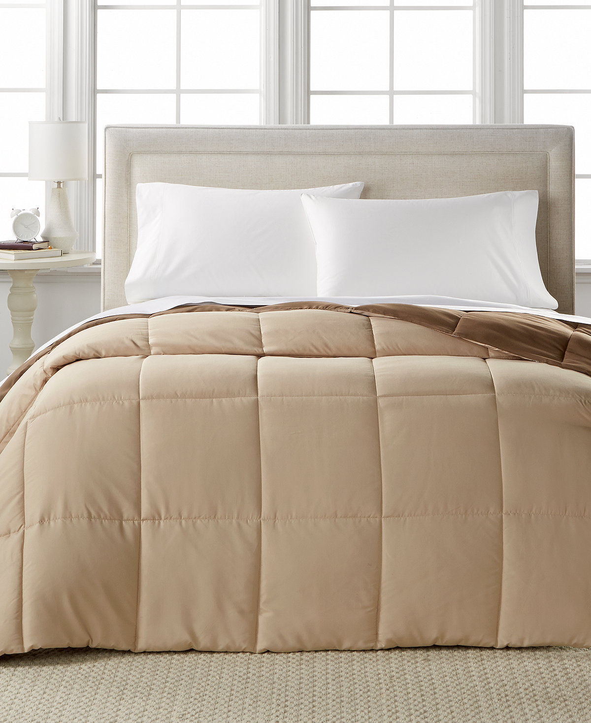 Home design taupe brown alternative down comforter king - Home design down alternative comforter ...