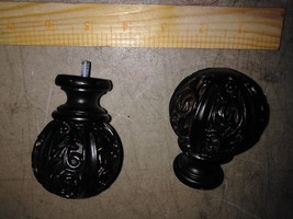 """8BB86 Pair Of """"Carved"""" Ball Finials, 2"""" +/- Sphere, #10NF +/- Threads, Very Good - $14.73"""