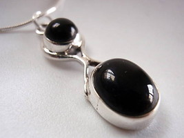 New Black Onyx Figure-8 Sterling Silver Pendant 925 New - $12.12