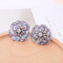 Summer Jewelry Sequins Round Flowers Stud Earrings For Women Holiday - $14.24