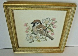 Vintage Framed Cross Stitch Tapestry Picture of Bird & Flowers Embroidered - $15.45