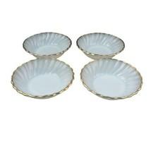 """Fire King Anchor Hocking White Swirl Set of 4 Dessert Fruit Bowls 4 7/8"""" Vtg - $13.85"""