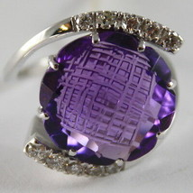 18K WHITE GOLD RING DIAMONDS ct0.38 AMETHYST ct11.50 AMAZING CUT, MADE IN ITALY image 2