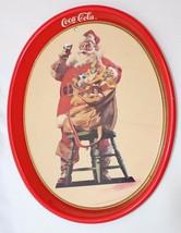 "Vintage 1987 Coca-Cola Coke Santa Claus Christmas Oval Serving Tray 15"" ... - $8.41"
