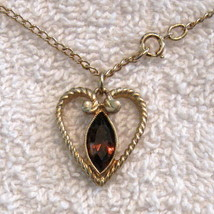 Avon HEART NECKLACE Chocolate Rhinestone Marquise Navette Gold Plate Pen... - $9.87